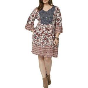 Style Co Plus Size Boho Peasant Knee-Length Dress